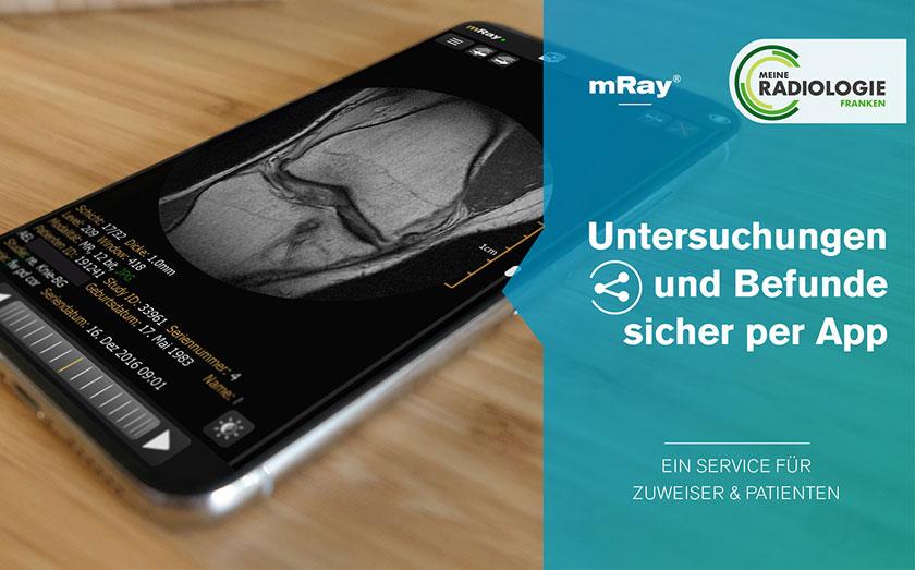 Untersuchungen und Befunde sicher per App, meine Radiologie Franken